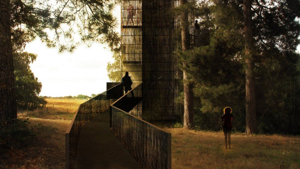 Artist's impression of the proposed Sutton Hoo walkway and viewing tower.