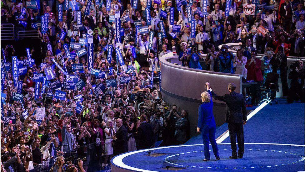 Hillary Clinton and Barack Obama at Democratic convention