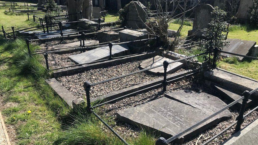 Damaged Jewish gravestones in Belfast
