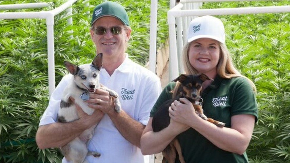 Alison Ettel pictured with her business partner Harry Rose and his two dogs