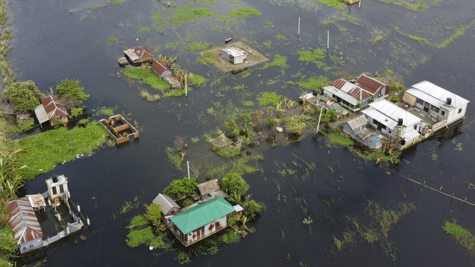 An inundated village in Savra of Bangladesh after monsoon floods.