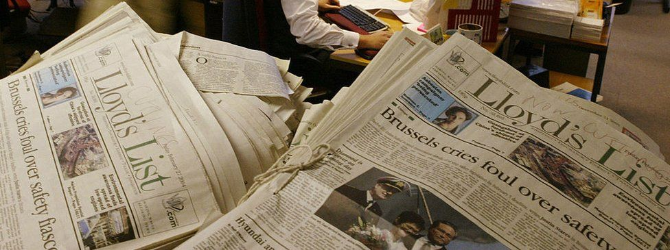 A pile of Lloyd's List newspapers