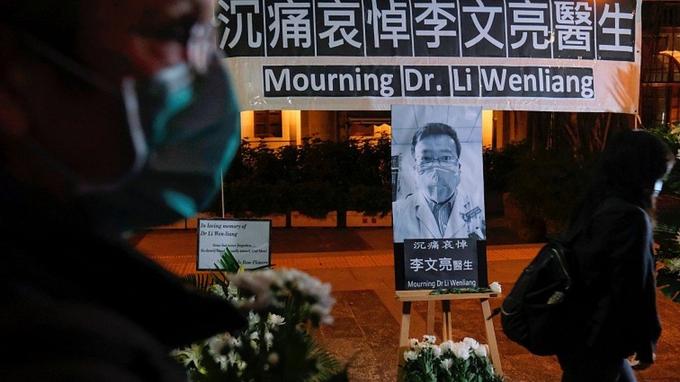A vigil for Li Wenliang, an ophthalmologist who died of coronavirus at a hospital in Wuhan, in Hong Kong, China. 7 Feb 2020