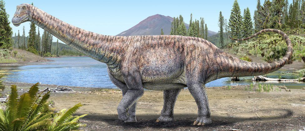 An artist's impression of a plant-eating dinosaur whose remains scientists discovered in the Atacama Desert in Chile