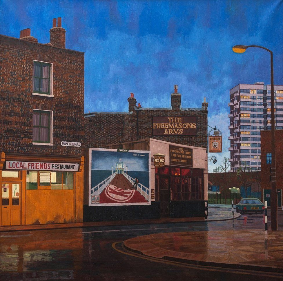 A painting of a street in East London by Doreen Fletcher