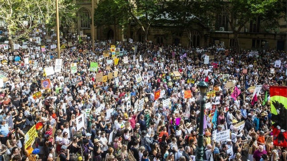 Activists rally for climate action at Sydney Town Hall on January 10, 2020 in Sydney, Australia.