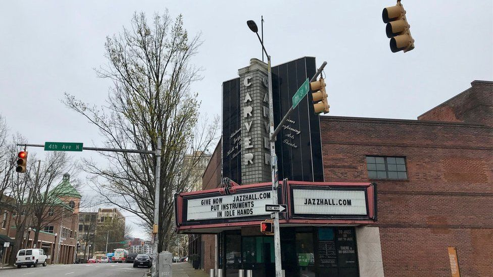 The outside of the Carver Theatre in 2019, Birmingham, Alabama