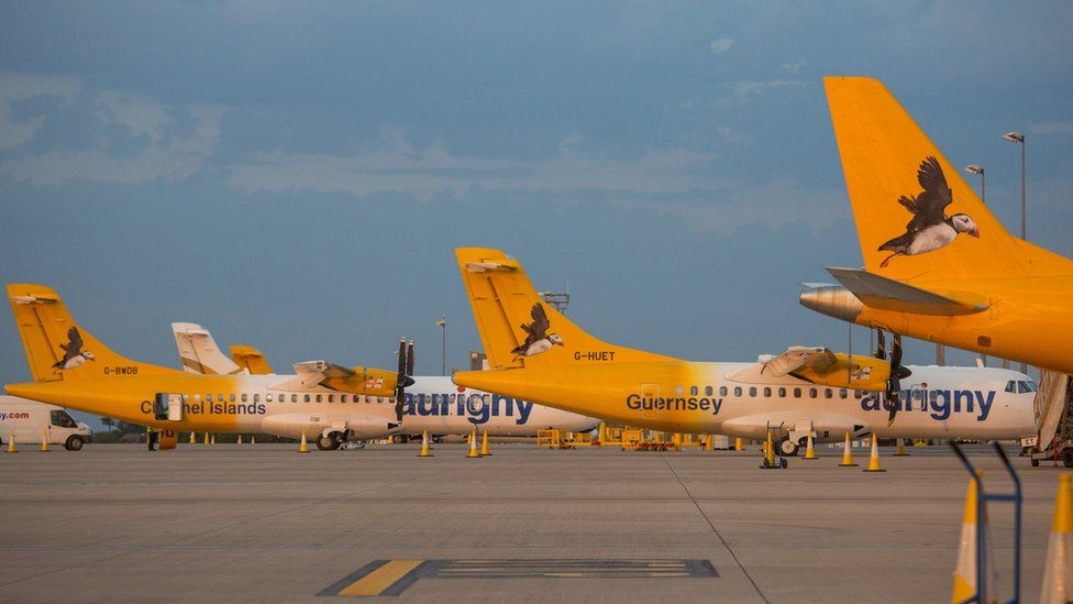 Aurigny planes lined up at the airport