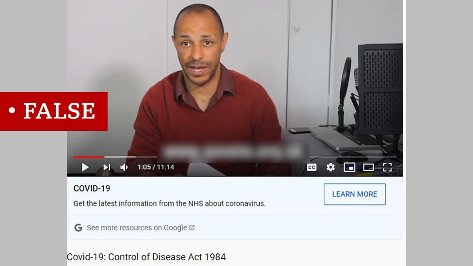 """Screenshot of video called Covid-19: Control of Disease Act 1984. Labelled """"False""""."""