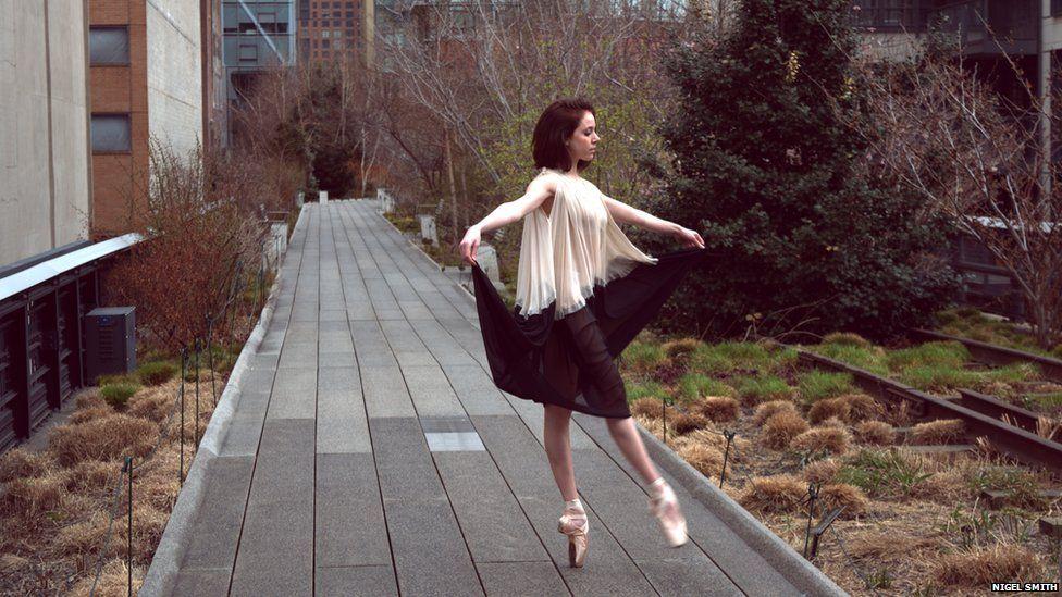 Woman dancing in New York City