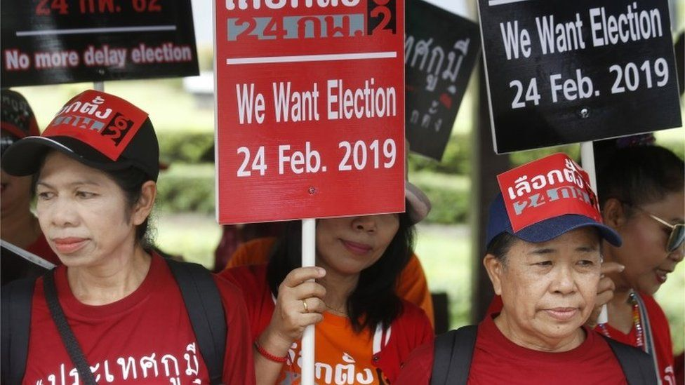 Pro-democracy campaigners in Thailand hold signs calling for an election (7 Dec 2018)