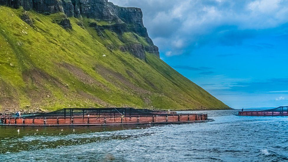 Salmon fish farm pools in the see lochs near Portree, Sound of Raasay, Isle of Skyue, Highlands of Scotland