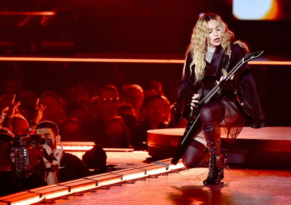 Madonna on stage in 2015