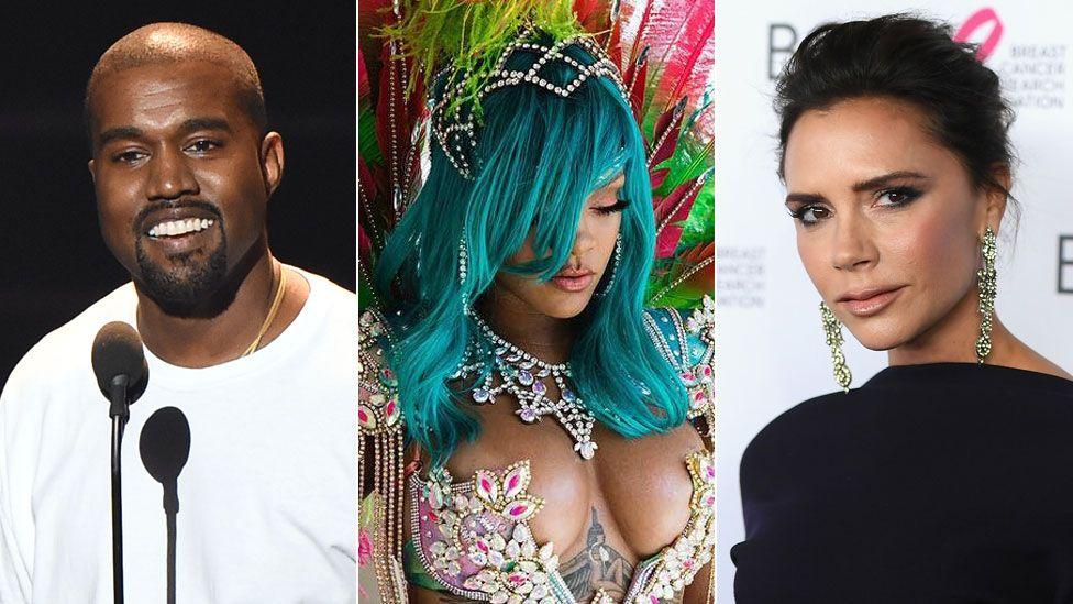 Kanye West, Rihanna and Victoria Beckham