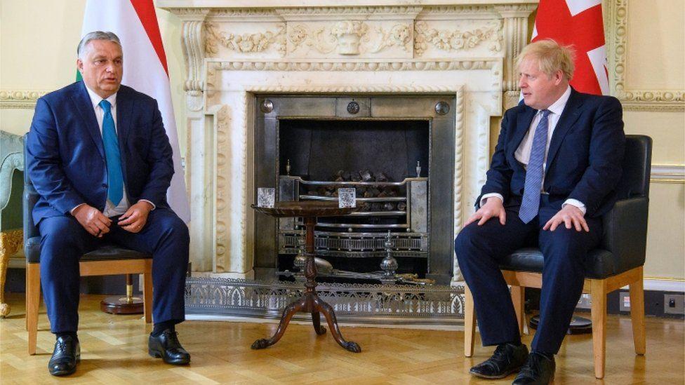 British Prime Minister Boris Johnson talks with Hungarian Prime Minister Viktor Orban at Downing Street in London, Britain May 28, 2021