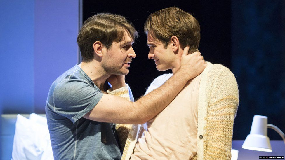 James McArdle (l) plays the boyfriend of Andrew's character, Prior Walter