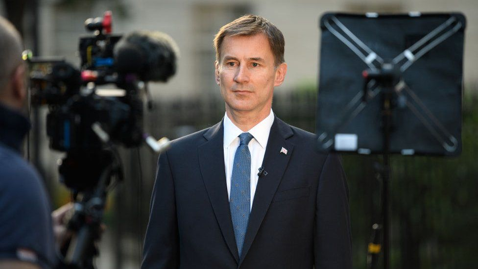 Foreign Secretary Jeremy Hunt is interviewed outside 1 Carlton House Terrace on June 24, 2019
