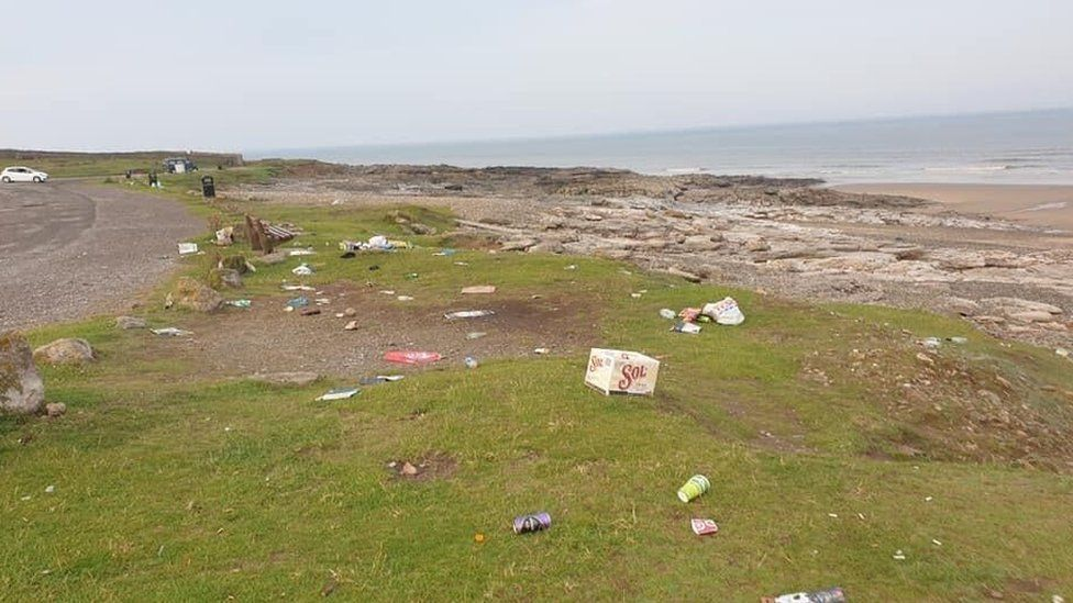 Litter left in Ogmore