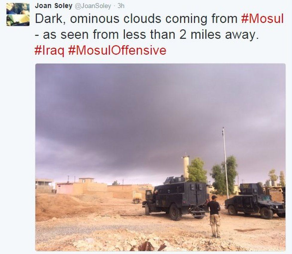 Tweet from Joan Soley reads: Dark, ominous clouds coming from Mosul - as seen from less than 2 miles away.