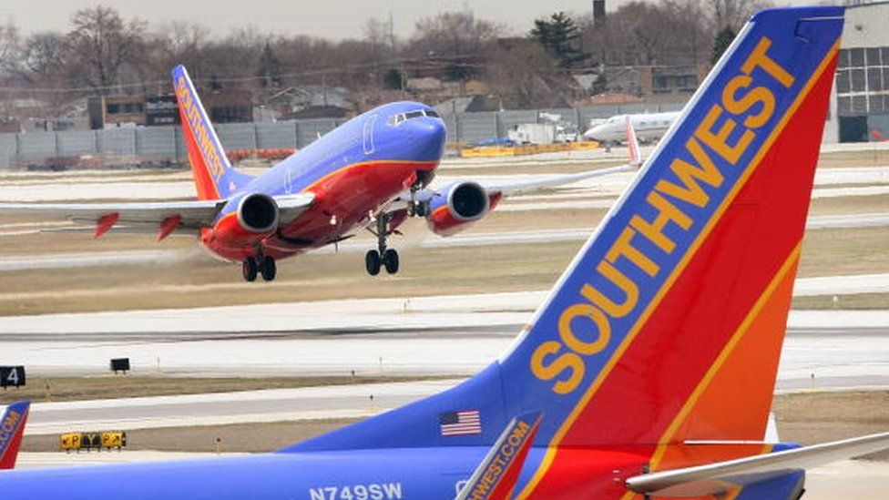 A Southwest Airlines jet takes off at Midway Airport in Chicago