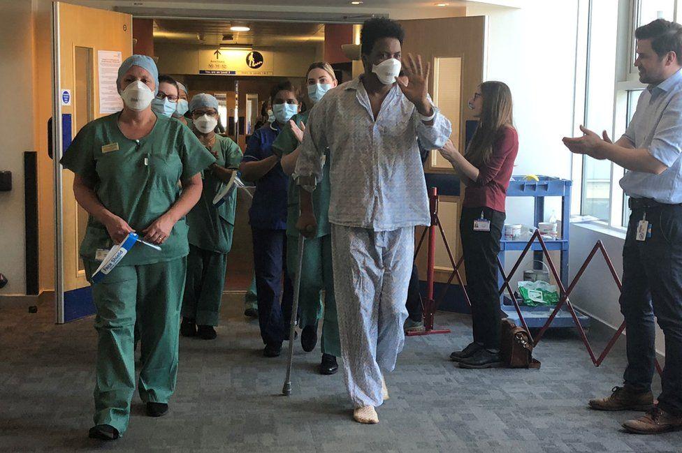 Biniam Kidane leaving Darent Valley Hospital