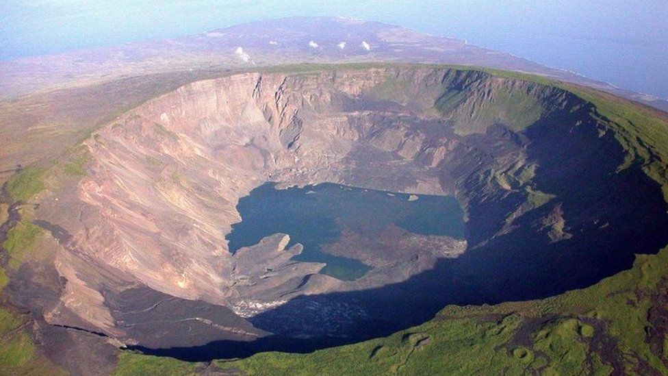 Aerial picture taken on March 2005, of the Cumbre volcano's crater, in the Galapagos Islands,