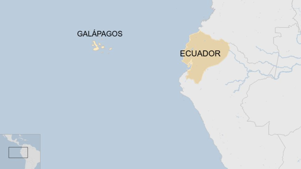 A map showing where the Galapagos Islands are off the coast of Ecuador