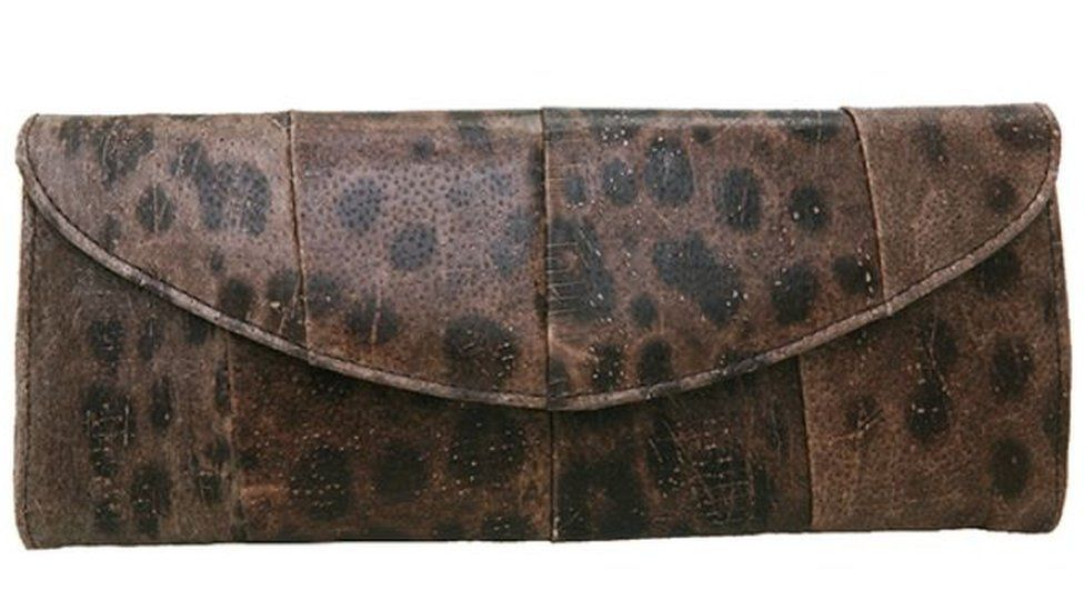 Brown dotted Wolfish leather purse