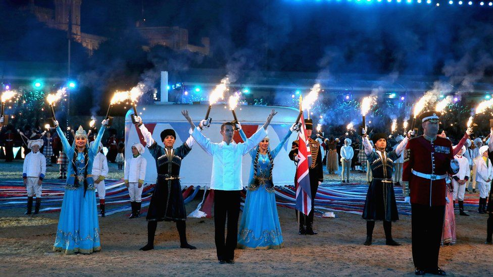 The finale of a show held for the Queen's birthday at Windsor Castle