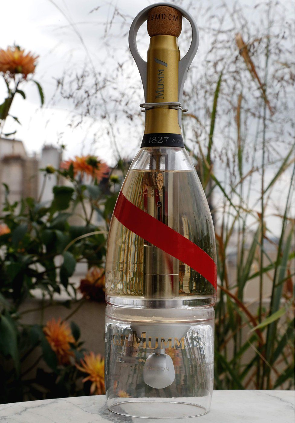 A bottle of Mumm Grand Cordon Stellar champagne, designed by French Interior designer Octave de Gaulle, in Paris, 6 September 2018