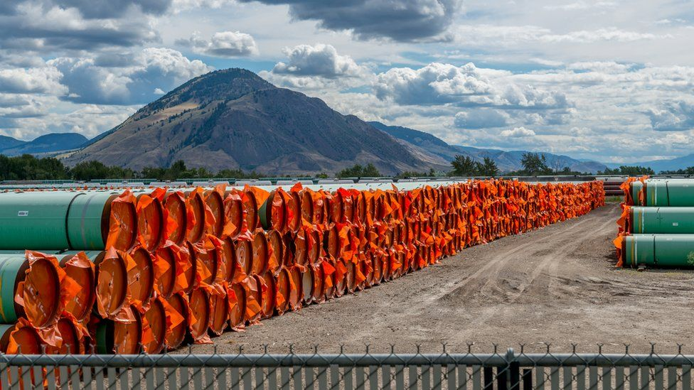 Stockpiled steel pipe to be used in the construction of the Trans Mountain Expansion Project