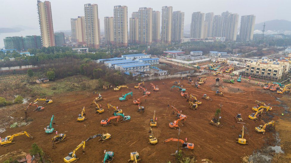 A new hospital in Wuhan which is under construction