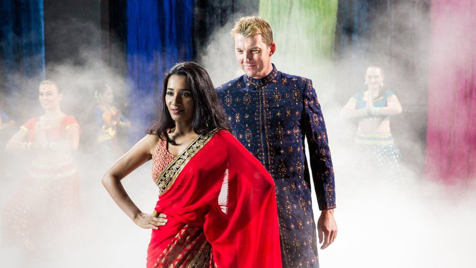 Tanishtha Chatterjee and Brett Lee in a scene from UnIndian