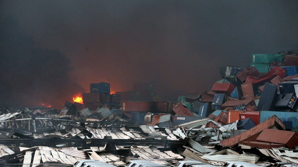Damage in Tianjin after blasts. 13 Aug 2015