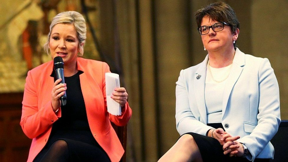 Michelle O'Neill and Arlene Foster at Ulster Fry event, Conservative Party Conference, Manchester, 3 October 2017