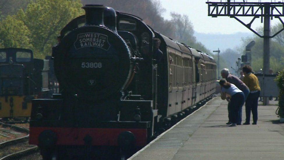 Steam train on West Somerset Railway