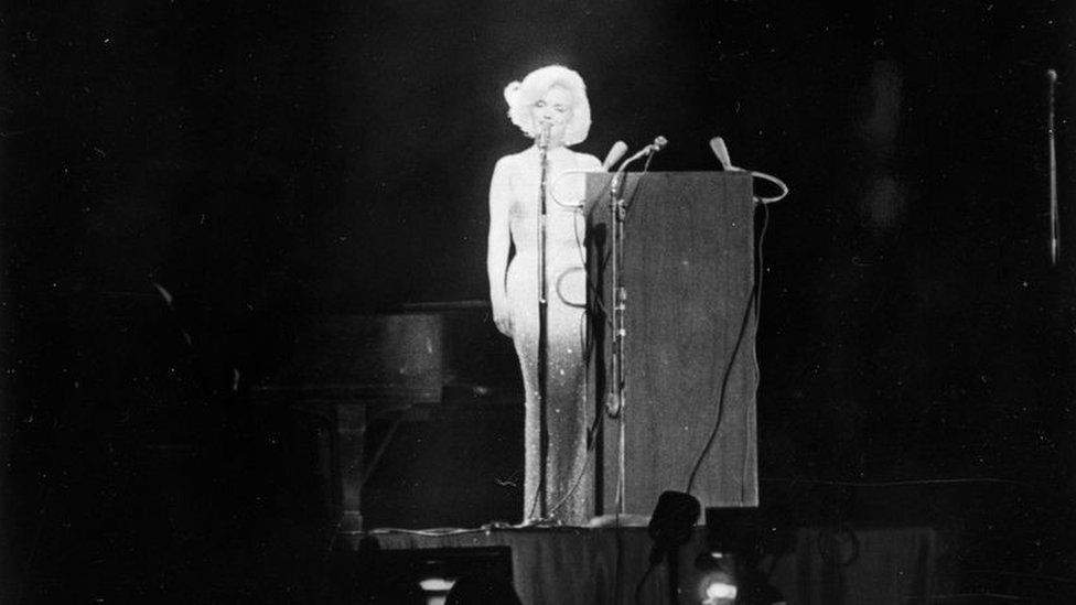 "Marilyn Monroe singing ""Happy Birthday"" to John F Kennedy, 1962."
