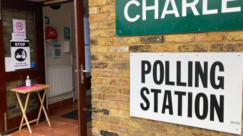 Tyttenhanger Green, St Albans polling station, Hertfordshire