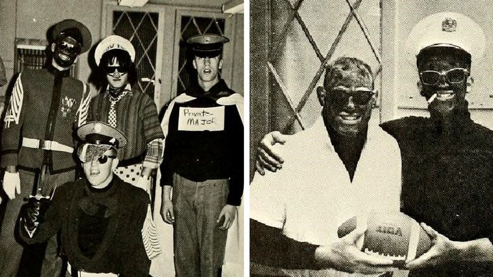 Photos showing students in blackface