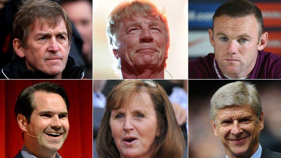 Clockwise from top left: Kenny Dalglish, Rick Parfitt, Wayne Rooney, Arsene Wenger, Lady Ann Redgrave, Jimmy Carr