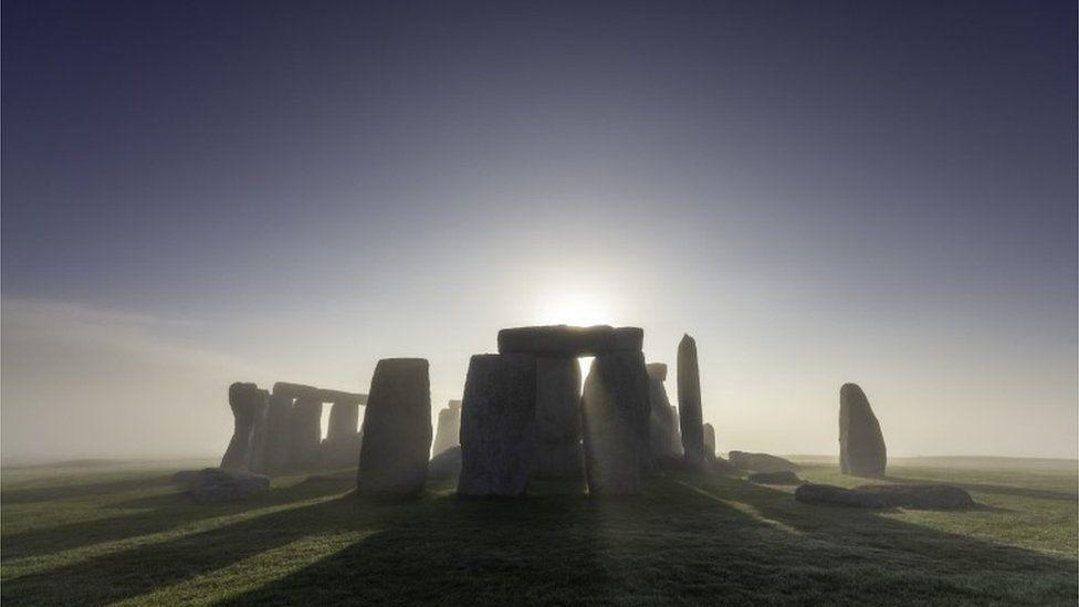 Stonehenge in mist