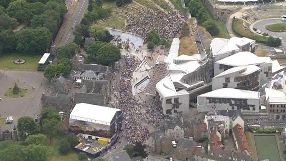 Crowds at the Edinburgh protest