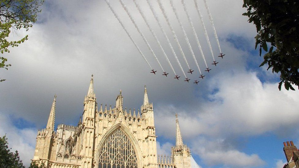 Red Arrows over York Minster
