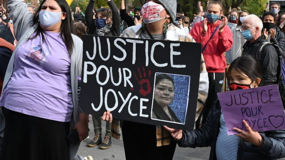Protesters gather during a demonstration in central Montreal on October 3, 2020, to demand action for the death of Joyce Echaquan,