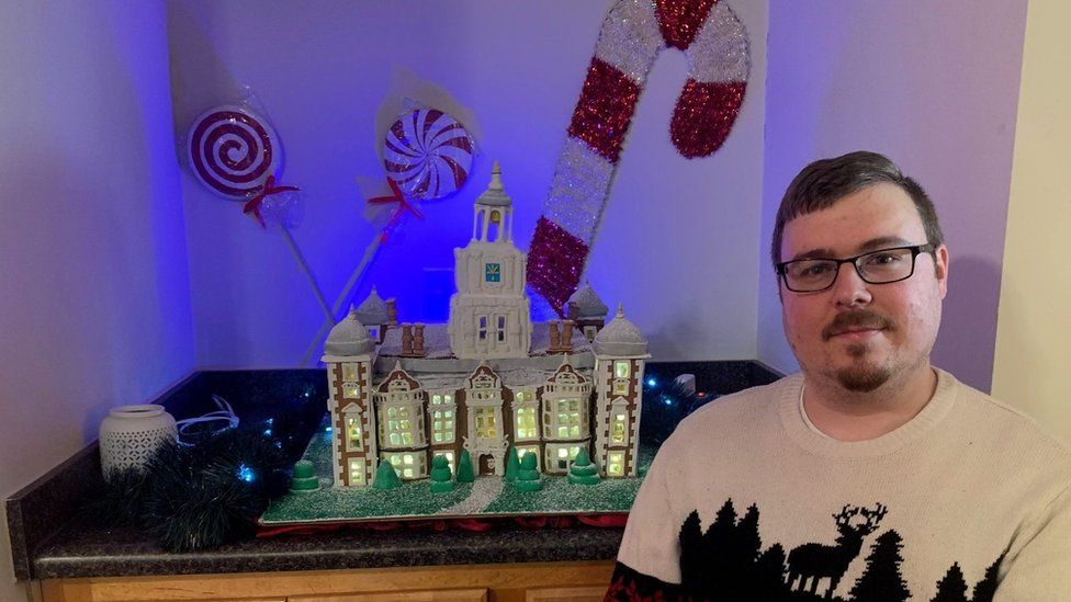 Eric Becker and his gingerbread house