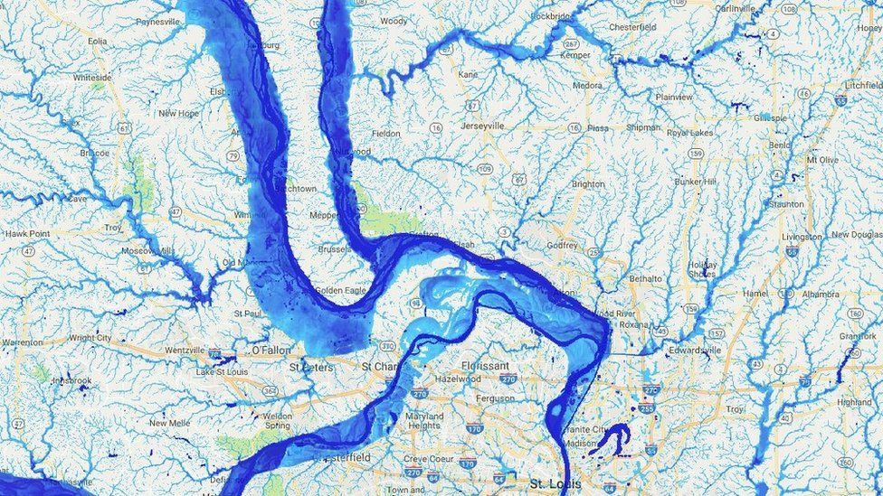 Flooding map centred on the area around St Louis (c) Oliver Wing