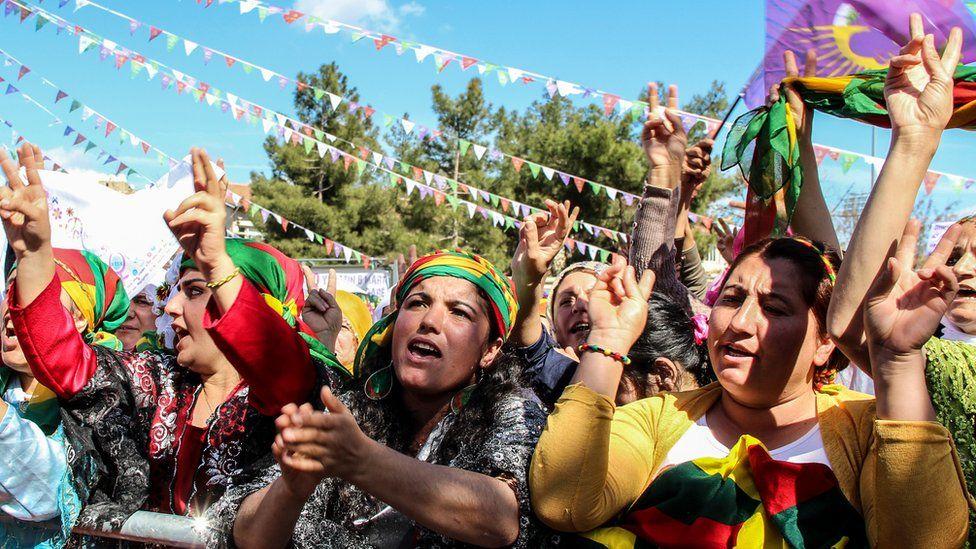 An International Women's Day demonstration in Diyarbakir, Turkey in 2016