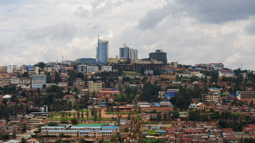 This picture taken on March 11, 2014 shows a view of the centre of the Rwandan capital, Kigali
