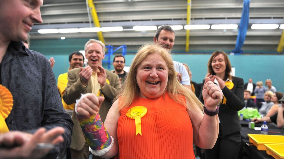 Liberal Democrat candidate for Chelmsford West, Jude Deakin (centre) celebrates with colleagues after retaining her seat in the Essex County Council local elections at Riverside Ice ^ Leisure Centre in Chelmsford, Essex