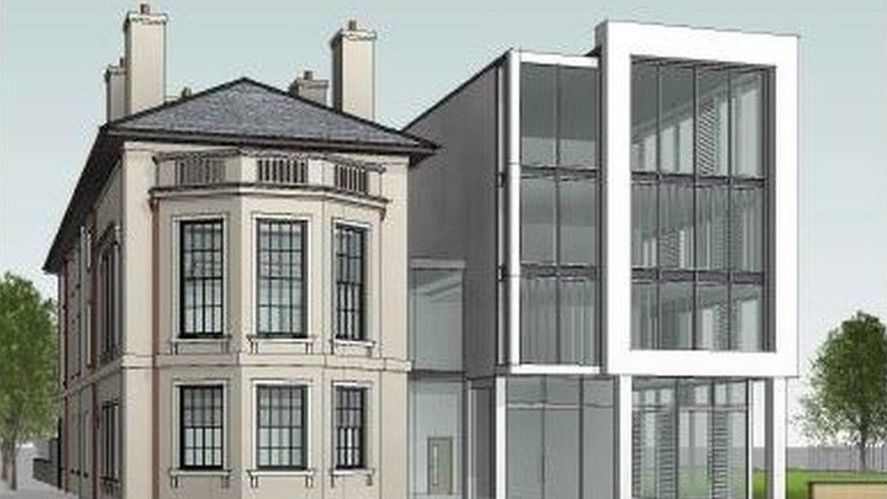 The plans show the existing building on the left and the proposed new building on the right